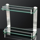 Bathroom Double-Layer Glass Shelf with Stainless Steel Bars