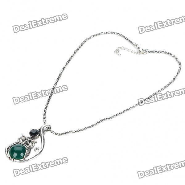 Vintage Green Jade Stone Owl Style Necklace - Dark Silver (45CM Chain)