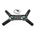 Double Fan USB Passthrough Port ABS Laptop Cooling Pad - Black
