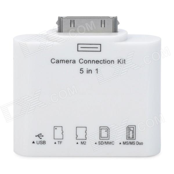 5-in-1 Camera Connection Kit with TF / M2 / SD / MS / USB Slot for iPad/iPad 2 (White)