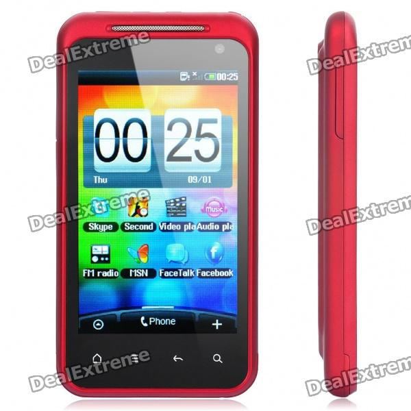 "Z601 3.7"" Touch Screen Dual SIM Dual Network Quadband Cellphone w/ Java + FM - Red"