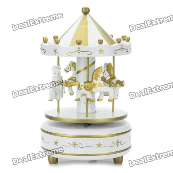 "Mini Carousel Merry-Go-Round Style Rotating Music Box with ""Castle in the Sky"" Melody - Gold + White"