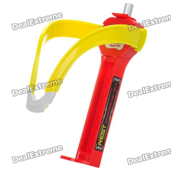 AEST Adjustable Nylon Bike Water Bottle Holder - Red + Yellow