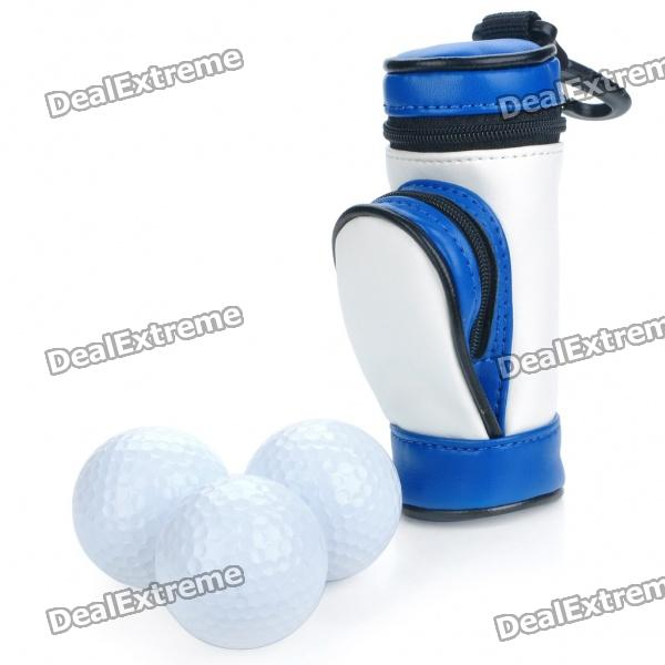 Portable PU Leather Golf Ball Carrying Bag w/ 3 x Golf Balls / 3 x Golf Tees Set - White + Blue
