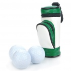 Portable PU Leather Golf Ball Carrying Bag w/ 3 x Golf Balls / 3 x Golf Tees Set - White + Green