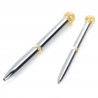 Zinc Alloy Golf Ball Head Ballpoint Pen + Gel Ink Pen Set - Silver + Golden