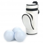 Portable PU Leather Golf Ball Carrying Bag w/ 3 x Golf Balls / 3 x Golf Tees Set - White