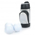 Portable PU Leather Golf Ball Carrying Bag w/ 3 x Golf Balls / 3 x Golf Tees Set - Black + Silver