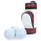 Portable PU Leather Golf Ball Carrying Bag w/ 3 x Golf Balls / 3 x Golf Tees Set - Black + Brown
