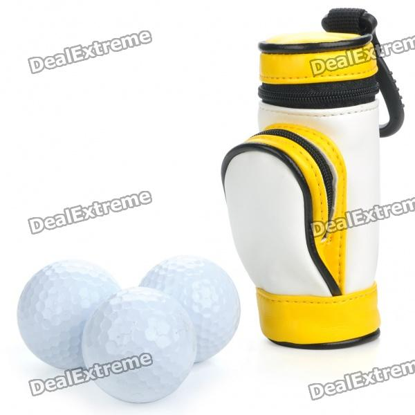 Portable PU Leather Golf Ball Carrying Bag w/ 3 x Golf Balls / 3 x Golf Tees Set - Yellow + White