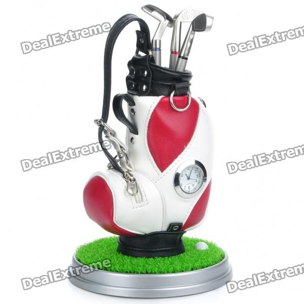 Creative PU Leather Golf Bag Style Pen Holder w/ Clock / Golf Club Ballpoint Pens / Base - White
