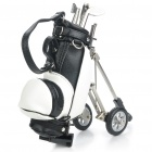 Creative PU Leather Golf Cart Style Pen Holder w/ Golf Club Ballpoint Pens - Black + White