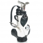 Creative PU Leather Golf Bag Style Pen Holder w/ Clock / Golf Club Ballpoint Pens - Black + White