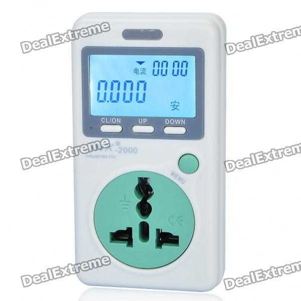 Plug-In Kilowatt Meter Adapter with Power Consumption Monitor (3-Flat-Pin Plug)