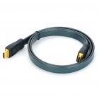 Gold Plated 3D HDMI V1.4 Male to Male Flat Connection Cable - Grey + Green (1M-Length)