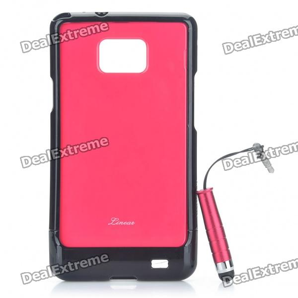 Protective Back Case with Screen Protector + Stylus Pen Set for Samsung Galaxy S2 i9100 - Red