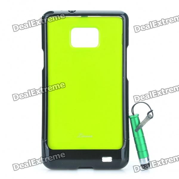 Protective Back Case with Screen Protector + Stylus Pen Set for Samsung Galaxy S2 i9100 - Green