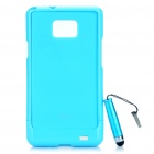 Protective Back Case with Screen Protector + Stylus Pen Set for Samsung Galaxy S2 i9100 - Blue