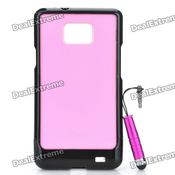 Protective Back Case with Screen Protector + Stylus Pen Set for Samsung Galaxy S2 i9100 - Pink