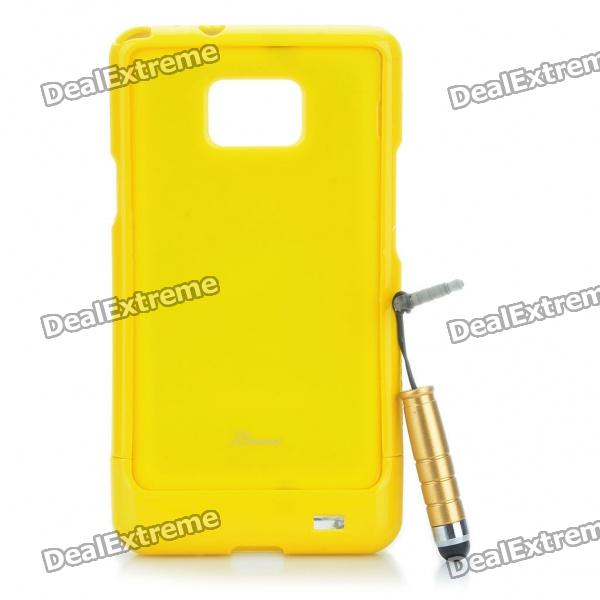 Protective Back Case with Screen Protector + Stylus Pen Set for Samsung Galaxy S2 i9100 - Yellow