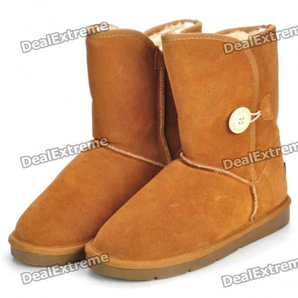 INCOME Women's Stylish Short Winter Snow Boots - Brown (EUR 37)
