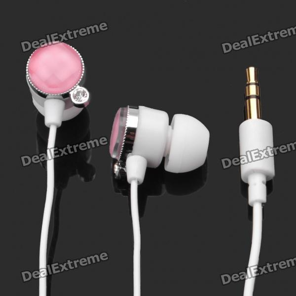 Stylish Round Rhinestone In-Ear Earphone - Pink (3.5mm-Jack / 100cm-Cable)
