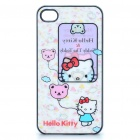 Protective Back Case with 3D Graphic for iPhone 4 - Hello Kitty Pattern