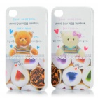 Romantic Protective Lover Couple Cases for iPhone 4/4S - Cartoon Bear Pattern (2 Piece Pack)