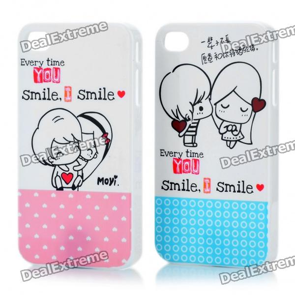 Romantic Protective Lover Couple Cases for Iphone 4/4S - Blue + Pink (2 Piece Pack)