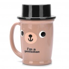 Cute ABS Gentleman Bear Mug Cup w/ Lid - Coffee + Black (100ml)