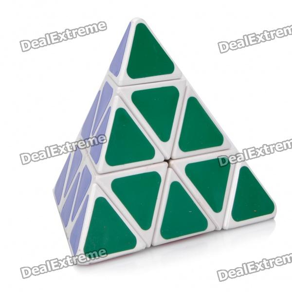 Triangular 4-Color Pyraminx Pyramid IQ Magic Cube - White Base 3d take apart brain teaser magic iq puzzle