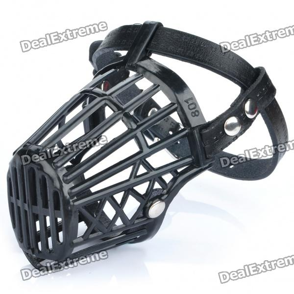 plastic-dog-basket-cage-muzzle-with-adjustable-strap-black-size-1