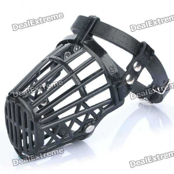 plastic-dog-basket-cage-muzzle-with-adjustable-strap-black-size-2