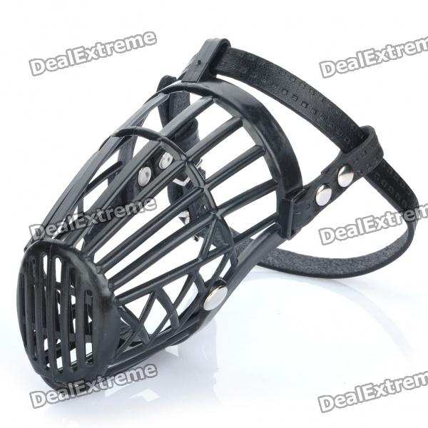 Plastic Dog Basket Cage Muzzle with Adjustable Strap - Black (Size 3)