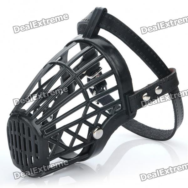 Plastic Dog Basket Cage Muzzle with Adjustable Strap - Black (Size 4)