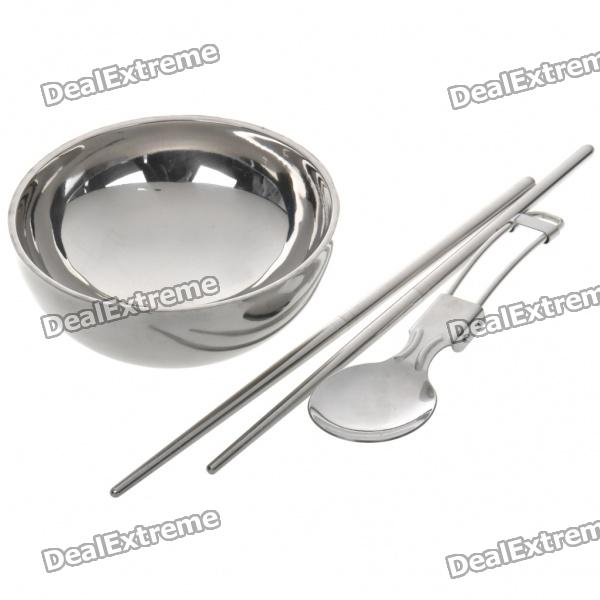 Outdoor Camping Stainless Steel Insulated Bowl + Folding Spoon + Detachable Chopsticks Set