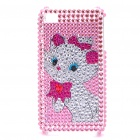 Shining Rhinestone Cute Cat Pattern Protective Plastic Back Case for iPhone 4