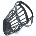 Plastic Dog Basket Cage Muzzle with Adjustable Strap - Black (Size 7)