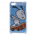 Shining Rhinestone Doggy Pattern Protective Plastic Back Case for iPhone 4