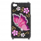 Shining Rhinestone Butterfly Pattern Protective Plastic Back Case for Iphone 4