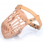 Plastic Dog Basket Cage Muzzle with Adjustable Strap - Beige (Size 2)