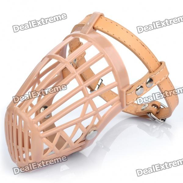 Plastic Dog Basket Cage Muzzle with Adjustable Strap - Beige (Size 3)