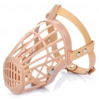 Plastic Dog Basket Cage Muzzle with Adjustable Strap - Beige (Size 4)