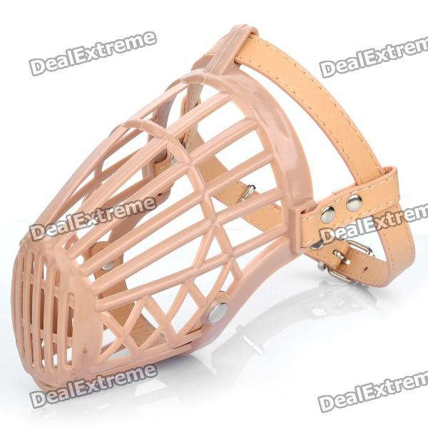 Plastic Dog Basket Cage Muzzle with Adjustable Strap - Beige (Size 5)