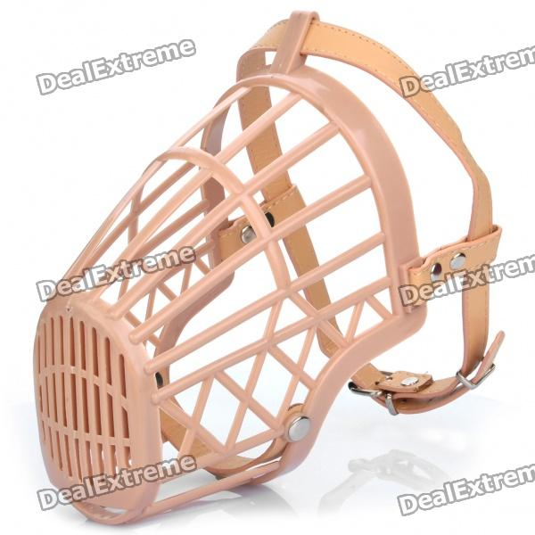 Plastic Dog Basket Cage Muzzle with Adjustable Strap - Beige (Size 6)
