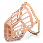 Plastic Dog Basket Cage Muzzle with Adjustable Strap - Beige (Size 7)