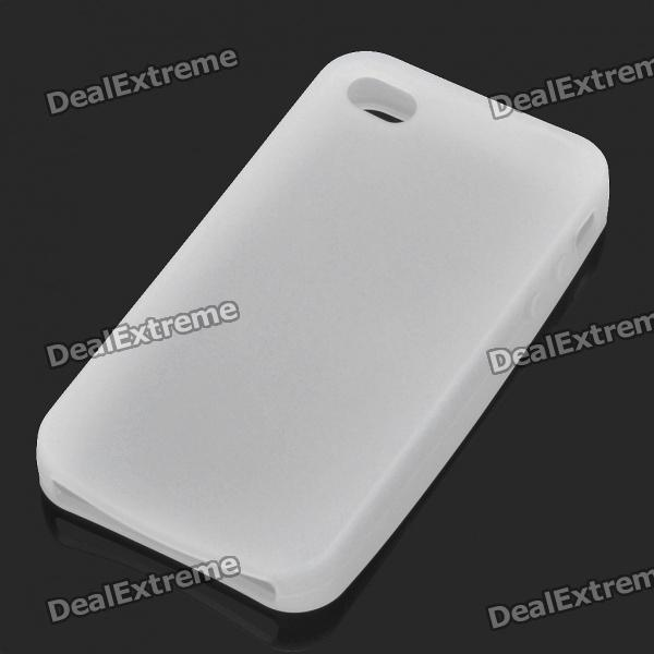 Protective Silicone Back Case for Iphone 4S - White protective silicone case for nds lite translucent white