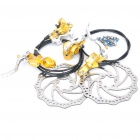 AEST Bike Bicycle Hydraulic Disc Brake - Golden + Silver + Black (Pair)
