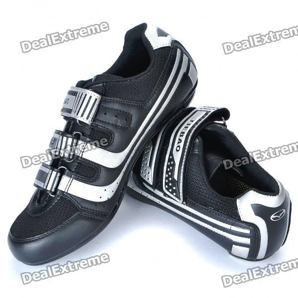 Stlyish Bike Cycling Carbon Fiber Practical Shoes - Silver + Black (EUR Size-39)
