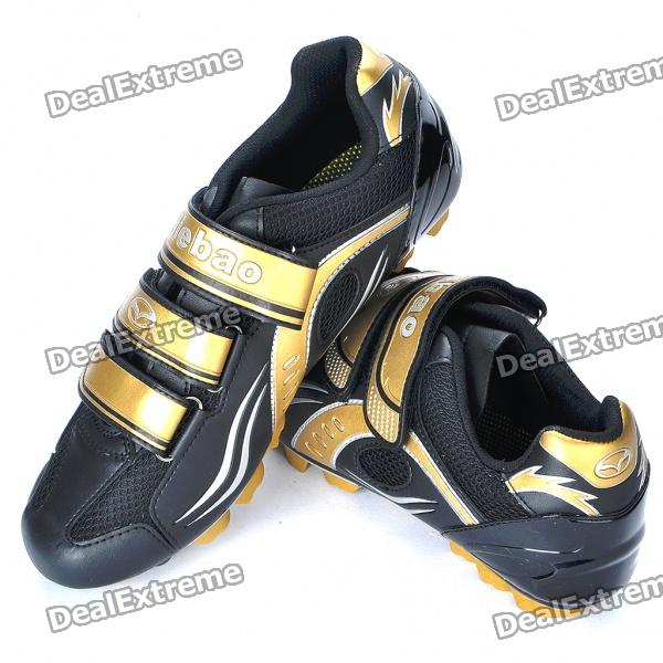 Stylish Mountain MTB Bike Cycling Carbon Fiber Practical Shoes - Golden + Black (EUR Size-38)